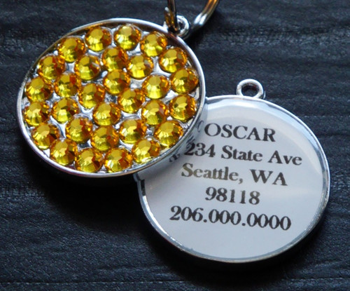 Light Topaz Swarovski Rhinestone Pet ID Tag