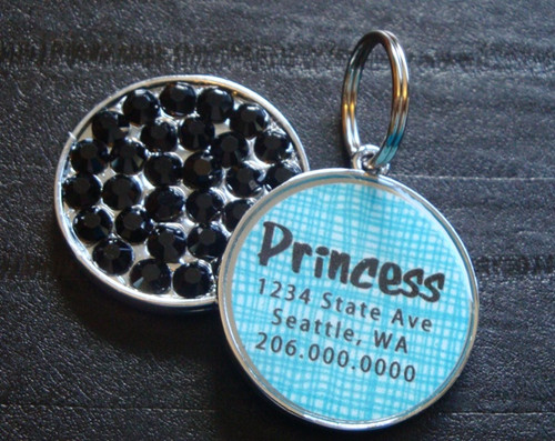 Basket Weave Blue Rhinestone Pet ID Tag