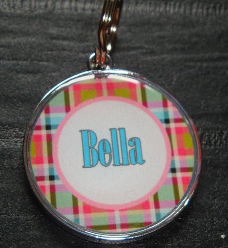 Pink & Blue Plaid Name Pet ID Tag