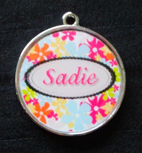 Sophie Pink Floral Pet ID Tag w/ Pet's Name