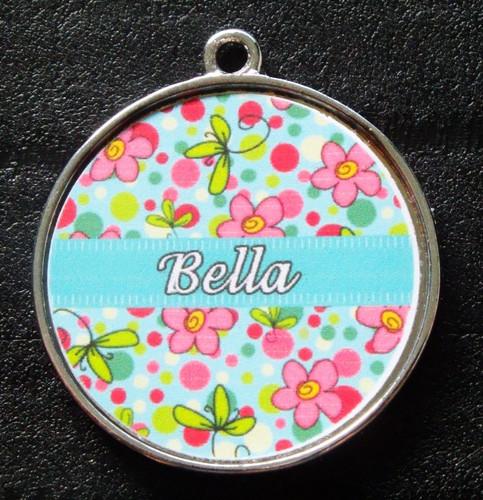 Blue Bubblegum Garden Pet ID Tag w/ Pet's Name
