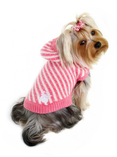 Candy Striped Hooded Sweater- Pink