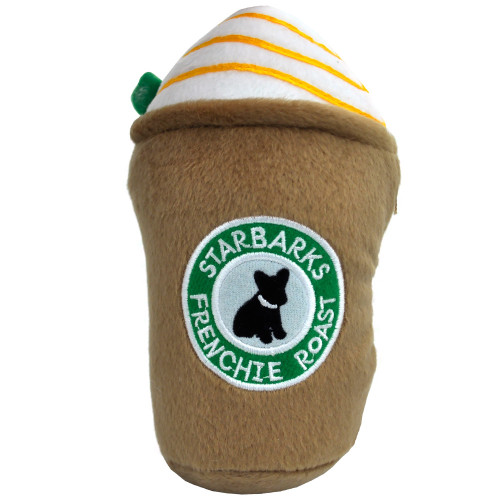 Starbarks Frenchie Roast Latte Squeaker Plush Dog Toy