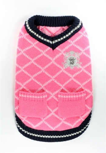 Royal Crest Sweater Vest - Pink