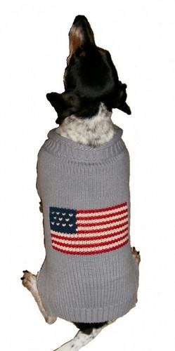 Grey Patriotic Pup Sweater