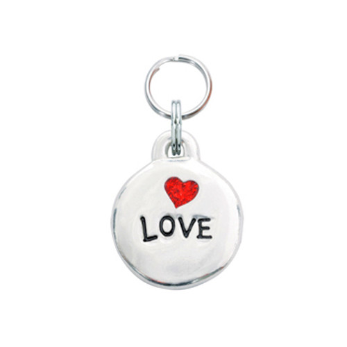 Love Pet ID Tag with Red Glitter Heart
