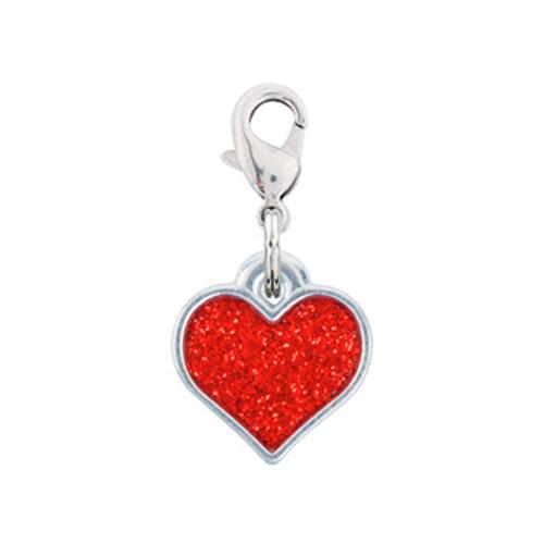 Rockin Doggie Red Sparkle Heart Dog Charm