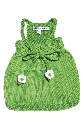 The Daisy - Green Hand Knit Sweater Dog Dress