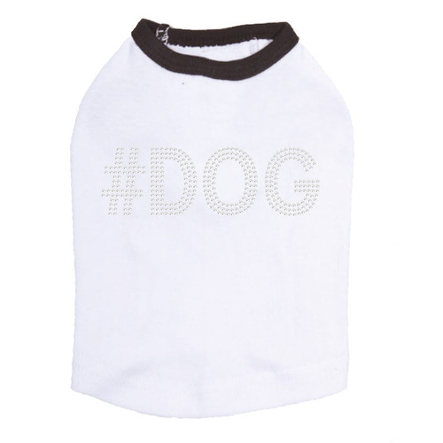 #DOG - Rhinestone - Dog Tank - White/Black Trim