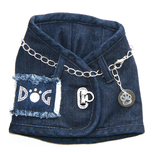 The Hollywood Denim Harness Vest with Chain Collar