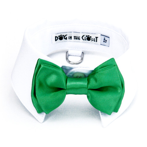White Shirt Dog Collar with Kelly Green Bow Tie