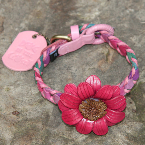 Multicolor Pink Leather Dog Collar with Dark Pink Daisy Attachment