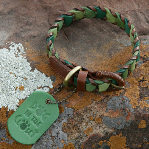 Shades of Green Leather Dog Collar