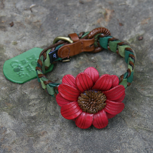 Shades of Green Leather Dog Collar with Dark Pink Daisy Attachment