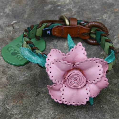 Shades of Green Leather Dog Collar with Light Pink Flower Attachment