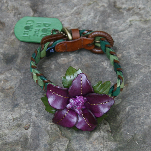 Shades of Green Leather Dog Collar with Purple Flower Attachment