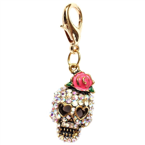 Girly Skull Clip on Collar Charms