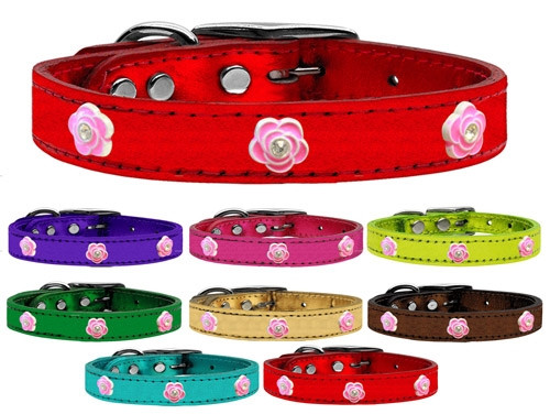 Bright Pink Rose Widget Genuine Metallic Leather Dog Collar