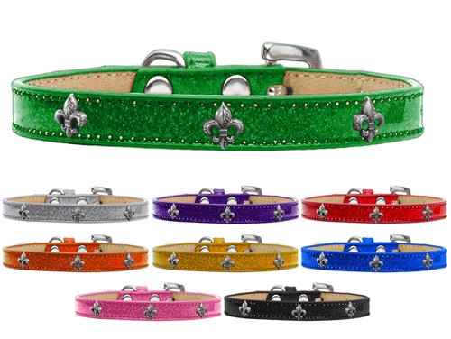 Silver Fleur De Lis Widget Dog Collar Ice Cream