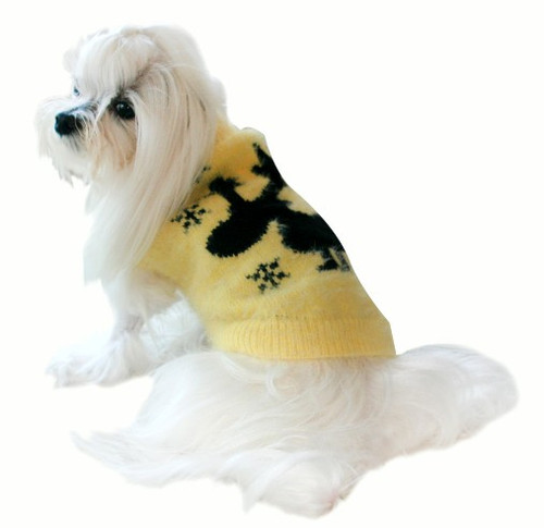 Feathersoft Yellow Moose Dog Sweater