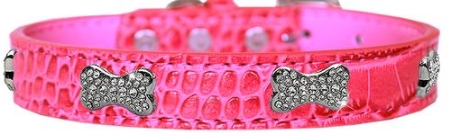 Croc Crystal Bone Dog Collar