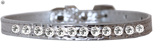 One Row Clear Jewel Croc Dog Collar