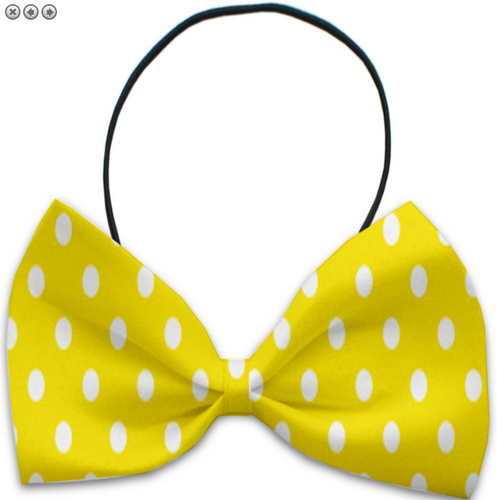 Yellow Polka Dots Pet Bow Tie