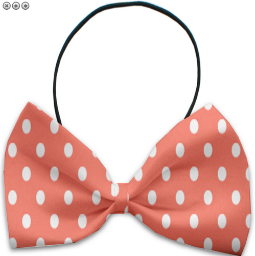 Peach Polka Dots Pet Bow Tie