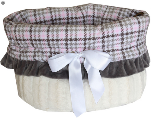 Pink Plaid Reversible Snuggle Bugs Pet Bed, Bag, and Car Seat All-in-One