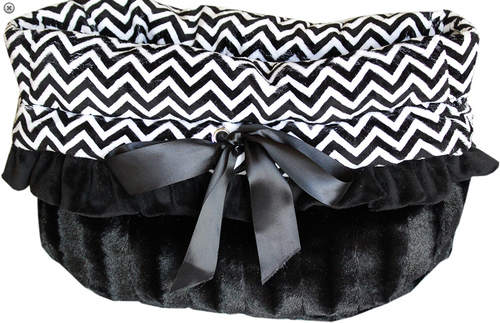 Black Chevron Reversible Snuggle Bugs Pet Bed, Bag, and Car Seat All-in-One