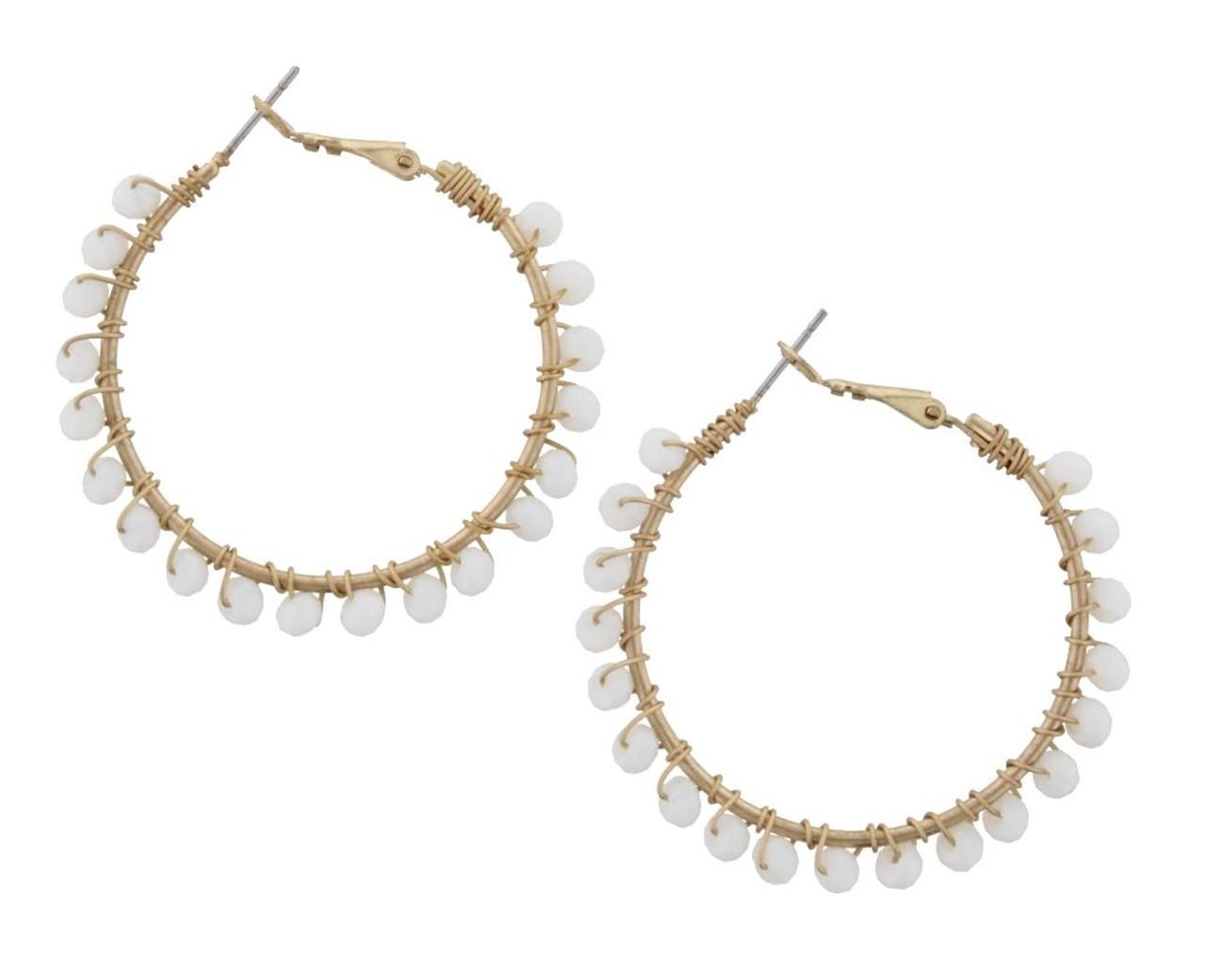Beaded Wire Wrapped Hoop Earrings - White - Cordial Lee