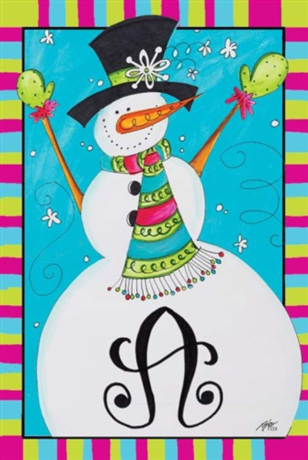 Build a Snowman Monogram Flag