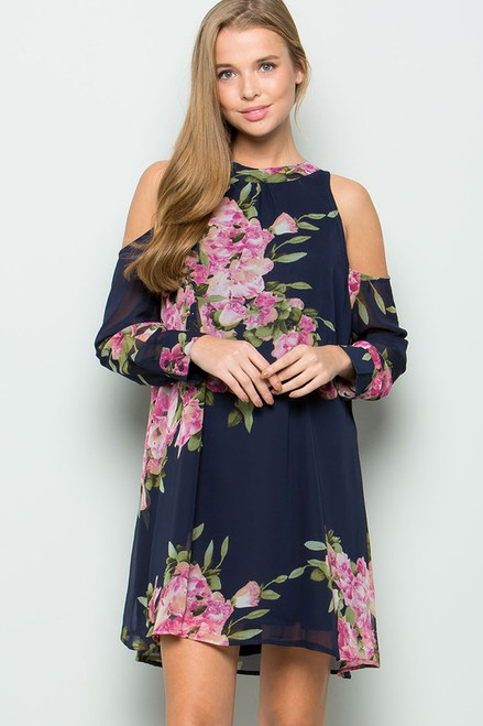 Zoey Open Shoulder Floral Dress - Navy
