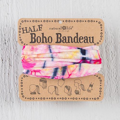Half Bandeau Headband - Pink Yellow Tie-Dye