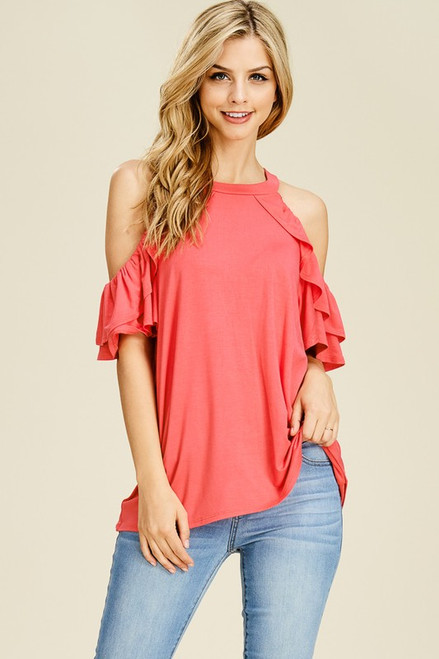 Lucy Open Shoulder Top - Coral