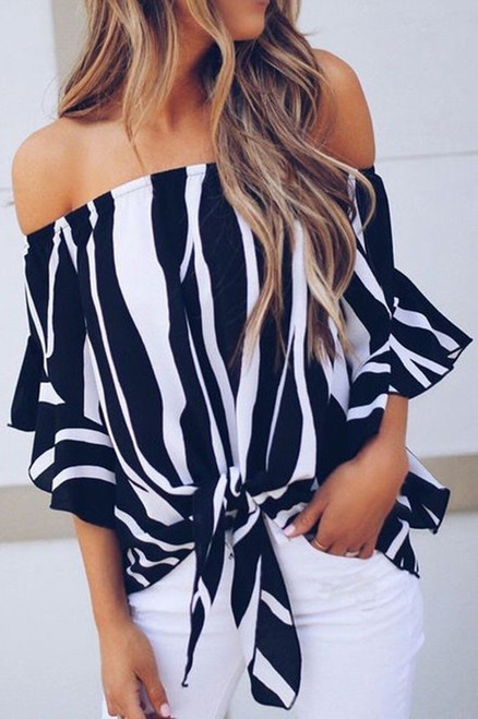 Taylor Striped Strapless Blouse - Black