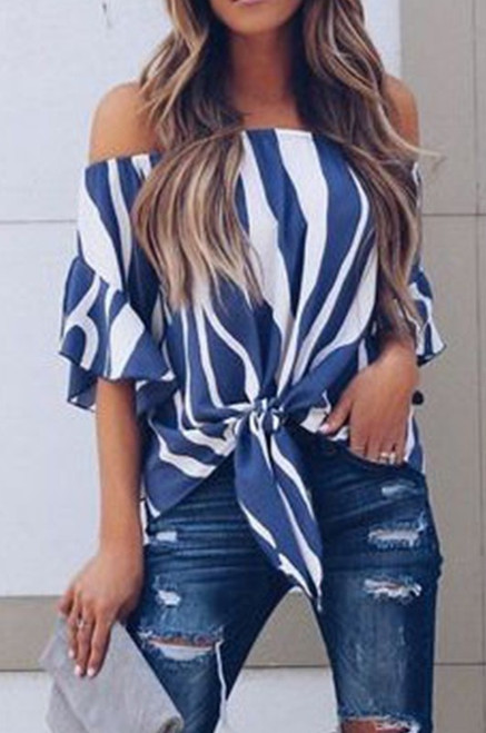Taylor Striped Strapless Blouse - Blue