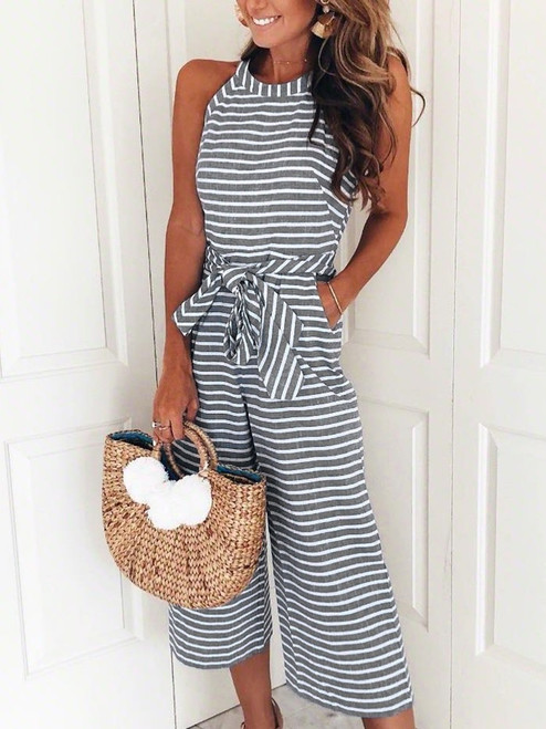 Willa Striped Wide Leg Jumpsuit - Grey