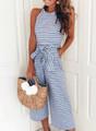 Willa Striped Wide Leg Jumpsuit - Blue