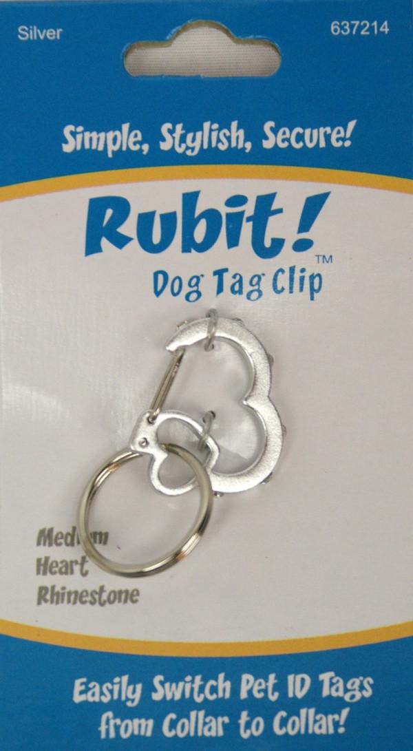 Medium Heart Rhinestone Dog Tag Clip