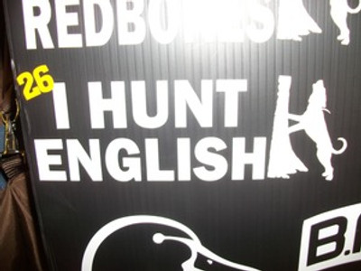 """I Hunt English"" Window Decal"