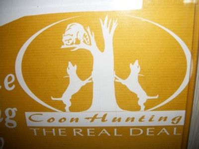 """Coon Hunting the Real Deal"" Window Decal"