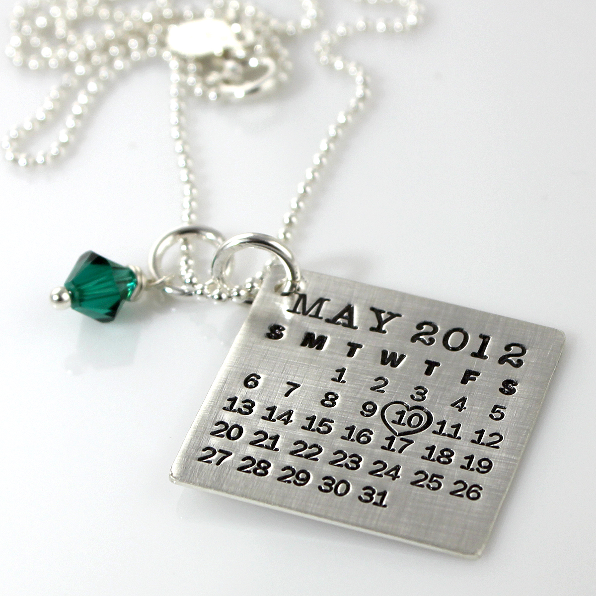 Mark Your Calendar Necklace with crystal dangle