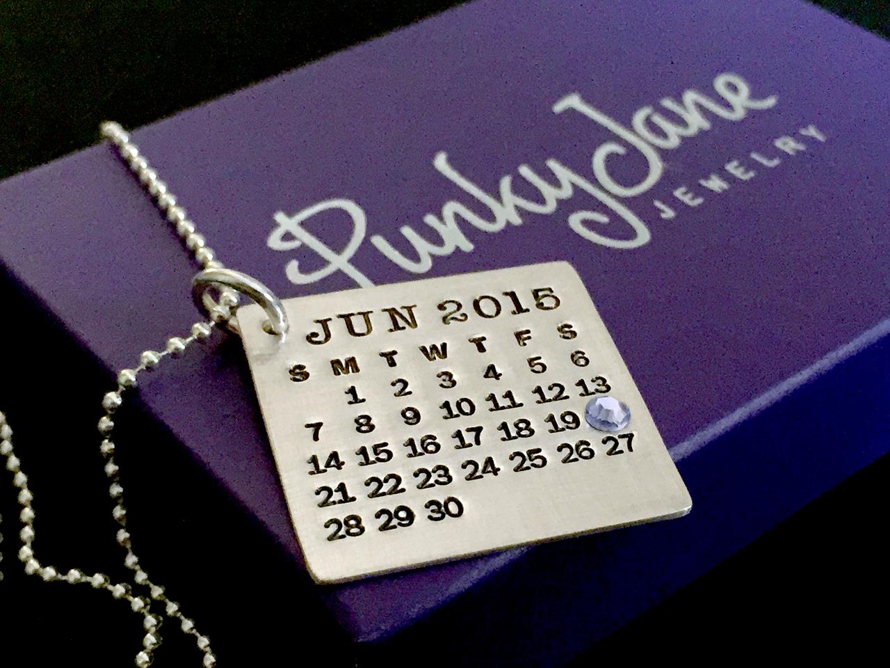 Mark Your Calendar Necklace with flatback crystal