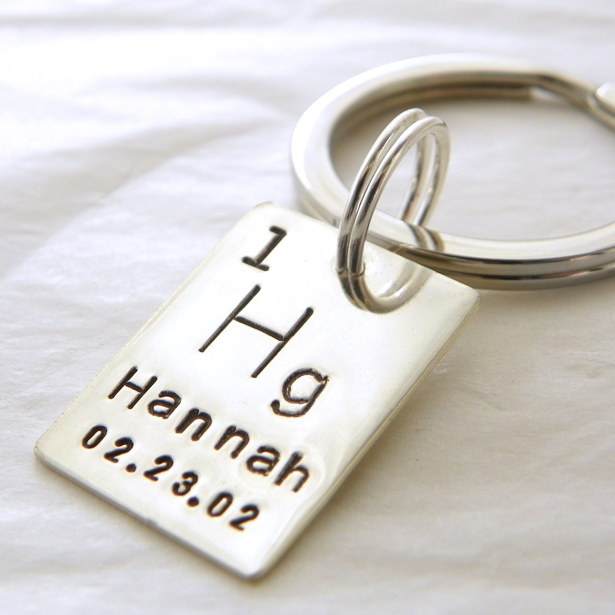 Personalized periodic table atomic element sterling silver key chain personalized periodic table atomic element hand stamped sterling silver key chain urtaz Gallery