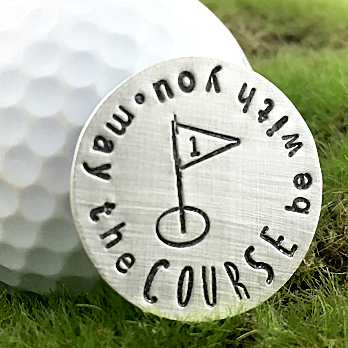 May the Course Be With You Handstamped Sterling Golf Marker