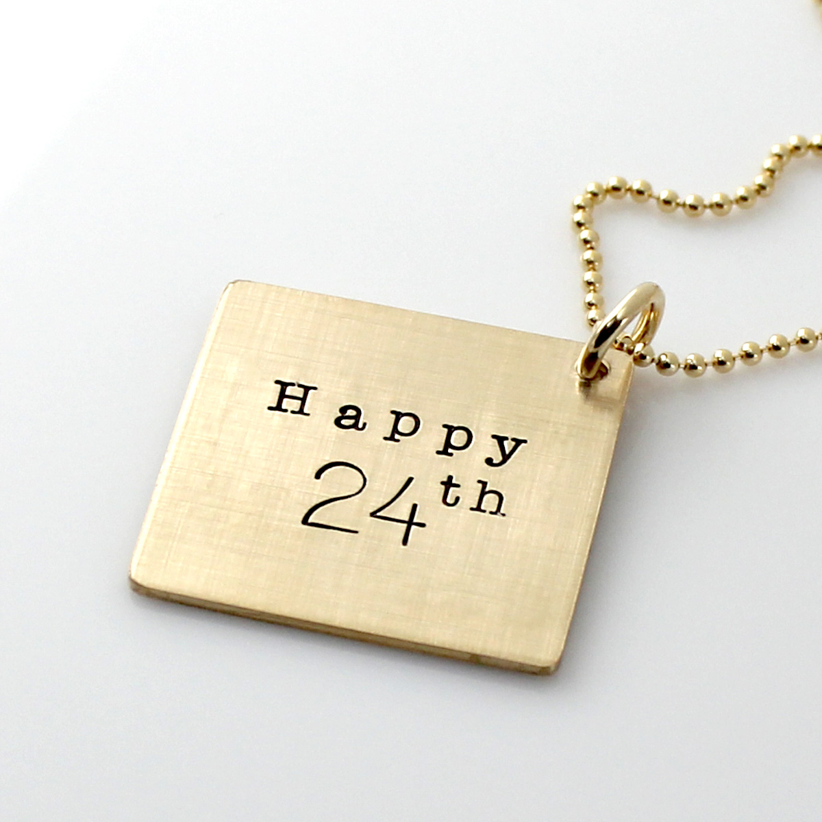 Mark Your Calendar Necklace - Gold Filled with stamping on the back