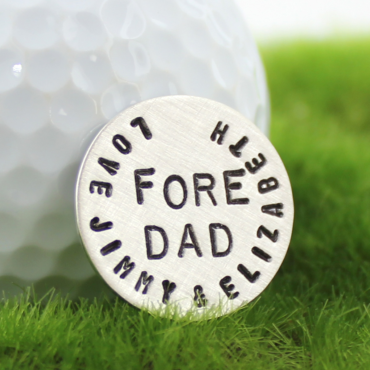 Fore Dad Handstamped Sterling Golf Marker