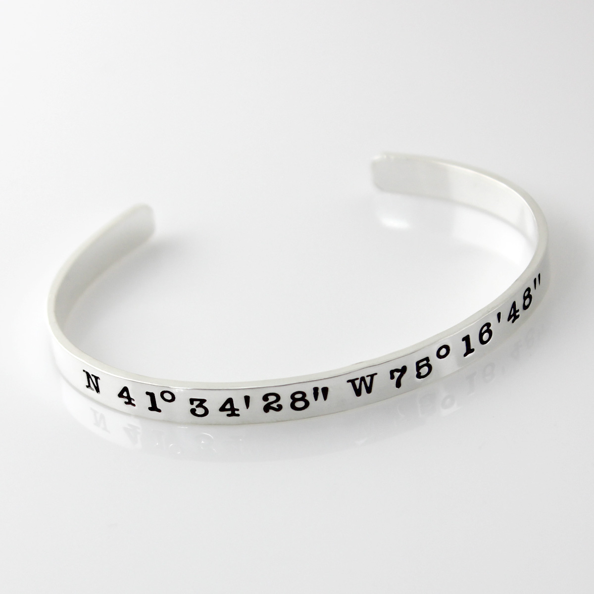 Personalized Geographic Coordinates Cuff Bracelet