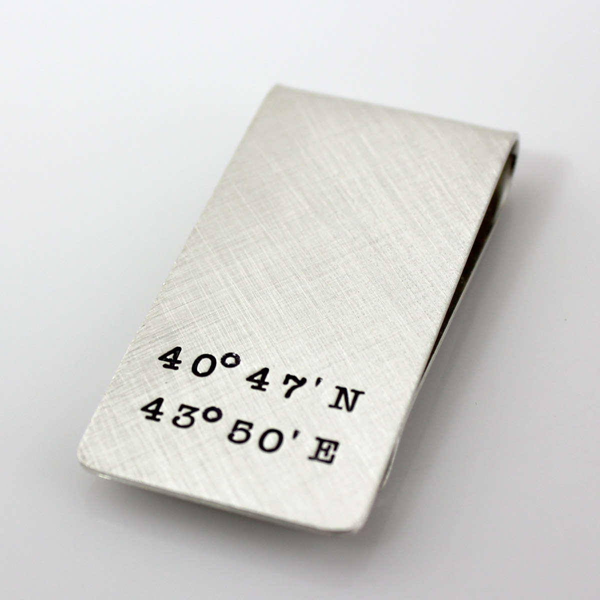 Geographic Coordinates Personalized Sterling Silver Money Clip
